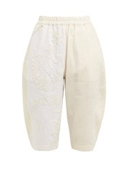 By Walid Tamara Floral Embroidered Cotton Shorts Cream