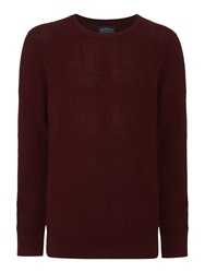 Criminal Iden Chevron Crew Neck Jumper Wine