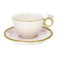 Villari Butterfly Tea Box Set Of 2 Cups And Round Saucers Baby Rose
