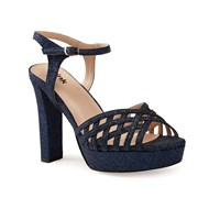 Paradox London Pink Petra Glitter High Heel Sandals Navy