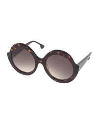 Alice Olivia Stacey Notched Round Sunglasses Brown Tortoise Brown Pattern