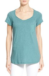 Women's Caslon Roll Edge Cap Sleeve Slub Knit Tee Teal Britt