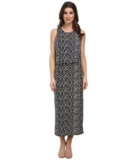 Vince Camuto Tropical Etching Maxi Dress W Crop Over Rich Black Women's Dress