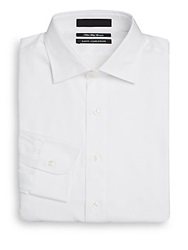 Saks Fifth Avenue Slim Fit Cotton Twill Dress Shirt White
