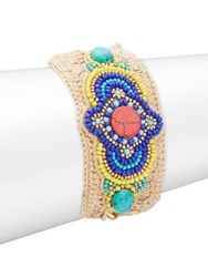 Design Lab Lord And Taylor Beaded Crochet Bracelet Blue