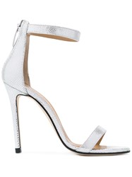 Marc Ellis Metallic Ankle Strap Sandals Grey