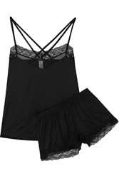 Hanro Eleonora Lace Trimmed Modal And Silk Blend Jersey Pajama Set Black
