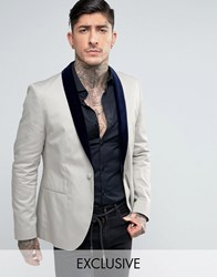 Religion Skinny Suit Jacket With Contrast Velvet Lapel Light Grey