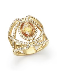 Bloomingdale's Citrine And Diamond Geometric Ring In 14K Yellow Gold