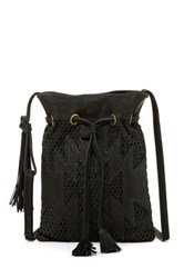 Cynthia Vincent Cait Perforated Leather Tassel Crossbody Black