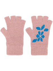 Barrie Cashmere Fingerless Gloves Pink And Purple