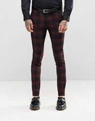 Asos Skinny Suit Trousers In Check Burgandy Red