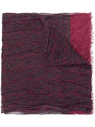 John Varvatos Patterned Scarf Red