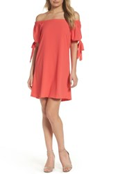 Mary And Mabel Women's Tie Sleeve Off The Shoulder Dress New Coral