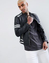 Goosecraft Manchester Leather Biker Jacket In Black And White Black White