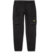 Stone Island Tapered Stretch Cotton Trousers Black