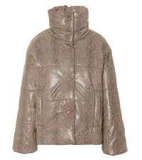 Nanushka Hide Faux Leather Puffer Jacket Brown