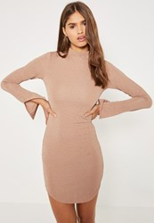 Missguided Nude High Neck Crinkle Curve Hem Bodycon Dress Pink