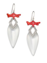 Alexis Bittar Coral Deco Lucite Enamel And Crystal Pear Drop Earrings Silver Red