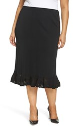 Ming Wang Plus Size Ruffle Hem Skirt Black