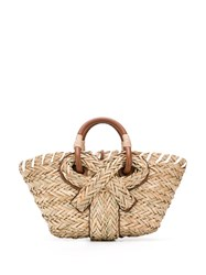 Anya Hindmarch Woven Bow Detail Tote Bag Neutrals
