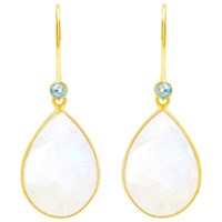 Auren 18Ct Gold Vermeil Rainbow Moonstone And Blue Topaz Teardrop Drop Earrings Gold Multi