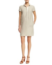 Loro Piana Nicole Linen Short Sleeve Polo Shirtdress Raw Linen