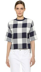 Whistles Gingham Boxy Long Sleeve Top Navy White