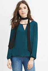 Forever 21 V Cutout Chiffon Blouse Hunter Green
