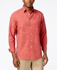 Tasso Elba Men's Print Long Sleeve Shirt Only At Macy's Red Combo