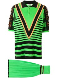 Kansai Yamamoto Vintage Sporty Skirt And Jumper Set Green