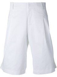 Les Hommes Pleated Front Shorts Men Cotton Elastodiene 48 White