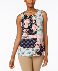 Charter Club Pleated Neck Floral Print Top Only At Macy's Intrepid Blue