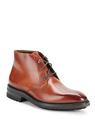 Carlos Santos Plain Toe Leather Chukka Boots Light Brown