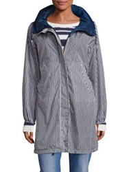 Max Mara Lucca Stripe Long Raincoat Navy