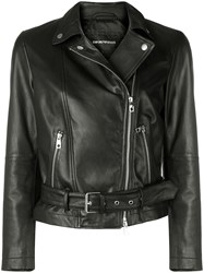 Emporio Armani Leather Biker Jacket Black