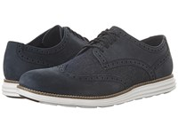 Cole Haan Original Grand Wing Oxford Navy Ink Nubuck Dark Denim Optic White Men's Lace Up Casual Shoes