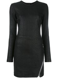 Rta Fitted Leather Dress Black