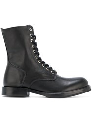 Diesel Classic Combat Boots Women Calf Leather Leather Rubber 40 Black