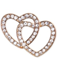 Jones New York Gold Tone Crystal Double Heart Pin