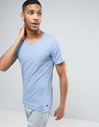Casual Friday Pocket T Shirt With Curved Hem And Raw Edges 50423 Robbia Blue