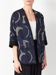 John Lewis Kin By Laura Slater Limited Edition Geometric Linear Jacket Blue