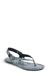 Tory Burch Women's Minnie Travel Thong Sandal Tory Navy Clouded Leopard