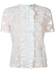 Fendi Floral Embroidered Tulle T Shirt White