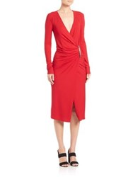 Donna Karan Draped Long Sleeve Jersey Dress Lacquer