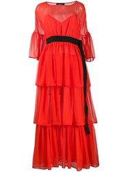 Rochas Belted Ruffled Dress 60