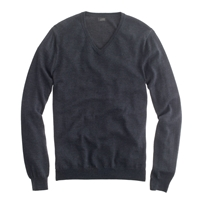 J.Crew Slim Merino Wool V Neck Sweater Hthr Ebony