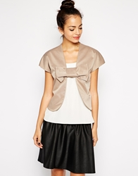 Traffic People Mini Bow Jacket Beige