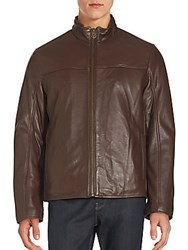Cole Haan Leather Zip Up Jacket Java