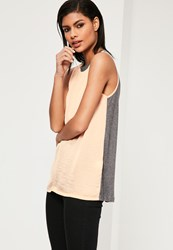 Missguided Jersey Back Chiffon Cami Top Nude